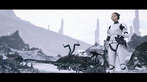 Imperial Forces Star Wars Women Stormtrooper Science Fiction Speeder Bike Vehicle Standing ArtStatio 1920x1080 Wallpaper