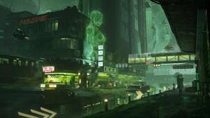 Artwork Digital Art Futuristic Cyber City Hologram 1920x1136 Wallpaper