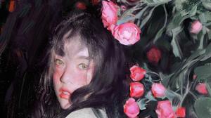Women Asian Artwork ArtStation Flowers Plants Dark Hair Painting Huaishen J Looking At Viewer Roses 1920x3009 Wallpaper