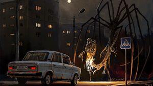 Creepy Creature Giant Night Car Boris Groh Horror 2000x1416 Wallpaper