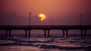 Sun Sky Orange Color Purple Pier Ocean Sea 2048x1365 wallpaper