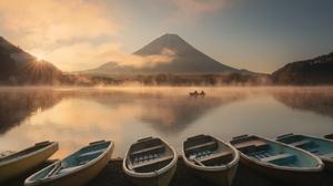 Daniel Kordan Landscape Sky Mist Mountains Mount Fuji Japan Water Lake Boat Sunrise Sun Rays Morning 1600x1280 Wallpaper