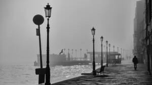 Photography Monochrome Venice Italy Mist Path Water Men Street Light Lamp Philippe Mignot 1920x1080 Wallpaper