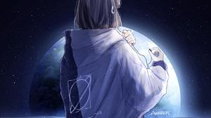 Anime Anime Girls Space Stars Planet Jacket Earphones Skirt Brunette Shoulder Length Hair 2140x2140 Wallpaper