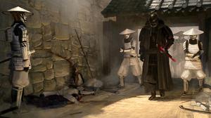 Star Wars Drawing Samurai Mashup Patrik Rosander Darth Vader Imperial Stormtrooper 3840x1600 Wallpaper