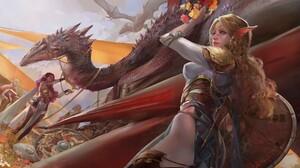Amber Ye ArtStation Fantasy Art Fantasy Girl Pointy Ears Long Hair Two Women Dragon Creature Artwork 1920x1009 Wallpaper