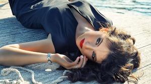 Women Model Red Lipstick Black Dress Lying Down Painted Nails Sunlight Women Outdoors Looking At Vie 2048x1365 Wallpaper