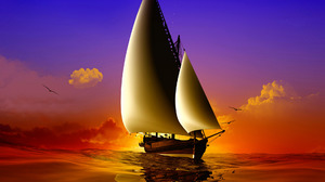 Ocean Sailboat Sunset 1920x1408 Wallpaper