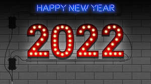 Happy New Year Bulb Lights Neon Sign 2022 Year 4000x3000 Wallpaper