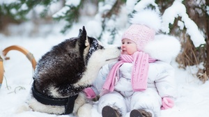 Child Dog Siberian Husky Snow Winter 2700x1800 wallpaper