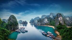 Vietnam Boat Rock Mountain 4978x2800 Wallpaper