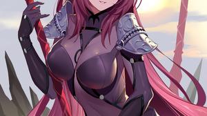 Long Hair Artwork Fate Series Fate Grand Order Lancer Fate Grand Order Anime Girls Purple Hair Red E 2009x2500 wallpaper