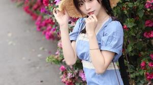 Asian Women Model Blue Dress Straw Hat Hand Bags Braided Hair Twintails Black Hair Bracelets Flowers 1280x1920 Wallpaper