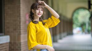 Asian Model Women Women Outdoors Long Hair Dark Hair Depth Of Field Twintails Braided Hair Yellow Sh 2560x1707 Wallpaper