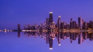 Building Chicago City Night Reflection Skyscraper Usa 2000x1215 wallpaper