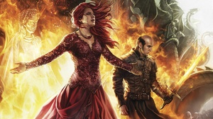 A Song Of Ice And Fire Dress Fire Girl Melisandre Game Of Thrones Red Hair Stannis Baratheon Sword W 1920x1200 wallpaper