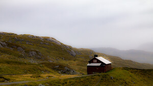 Cabin Mountain Top Landscape Nature Forest Mist Alone Isolation 2048x1365 Wallpaper