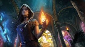 Flame Girl Hood Long Hair Magic Path Of Exile Witch 1920x1080 Wallpaper