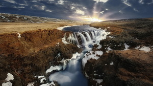 Landscape Nature River Sunrise Waterfall 1920x1200 Wallpaper