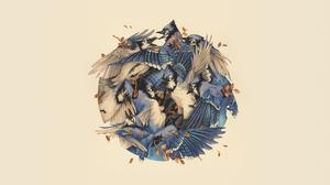 Taegan White Watercolor Birds Minimalism Vintage Artwork 2560x1440 Wallpaper
