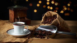 Cup Still Life Coffee Beans Drink 2048x1365 Wallpaper