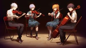 Asuka Langley Sohryu Kaworu Nagisa Rei Ayanami Shinji Ikari Violin Violinist 1920x1080 wallpaper