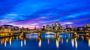 Water Night Cityscape Bridge 2047x1153 wallpaper