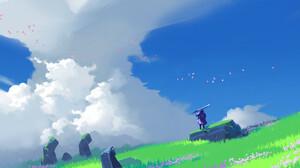 Jun Dong Li Digital Art Fantasy Art Clouds Sword Birds 1920x1078 Wallpaper