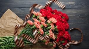 Carnation Flower Pink Flower Red Flower Ribbon 4928x3264 wallpaper