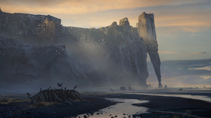 Cliff Coast Landscape Wreck 2000x1157 Wallpaper