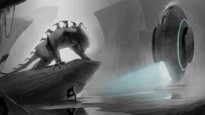 Alien Cave Creature Grey Spaceship 7500x3000 Wallpaper