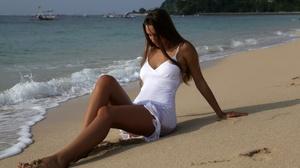 Women Model Women Outdoors Women On Beach Sitting White Clothing Barefoot Brunette Long Hair 2560x1660 Wallpaper