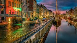 Amsterdam Boat Building Canal Copenhagen Denmark Evening House Night Reflection Town 6000x4000 wallpaper