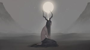 Digital Art Illustration Midfinger Original Characters Horns Monster Girl Long Hair Black Hair White 4192x1986 Wallpaper