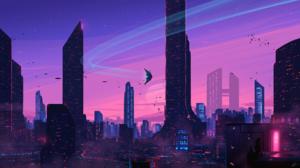 Cityscape Girl Cat Skyscraper Futuristic 2560x1440 Wallpaper