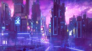 Neon Cyberpunk City Futuristic City Skyscraper 1920x1080 Wallpaper