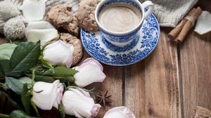 Rose Cookie Cup Flower Still Life Drink 5295x3530 Wallpaper