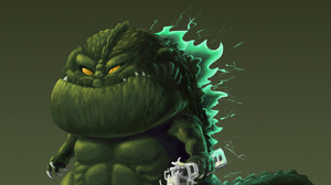 Godzilla Humor Digital Art Kaiju Movies Gradient Creature 1280x1656 wallpaper