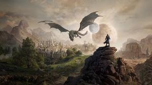 The Elder Scrolls Dragon Moon Planet 3840x2160 Wallpaper