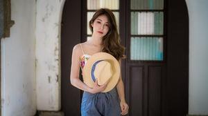 Asian Brunette Girl Hat Lipstick Model Woman 4500x3002 wallpaper