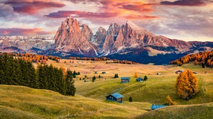 Landscape Mountains Nature Sunset Forest Trees Valley Italy 8500x5816 Wallpaper