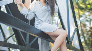 Asian Model Legs Sitting Smiling Hat Dark Hair Building Barefoot Long Hair 1365x2048 Wallpaper