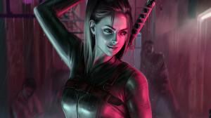 Paulina Bochniak Smiling Katana Ponytail Zombies Women Digital Art Rain Artwork Blonde ArtStation 1920x1560 Wallpaper