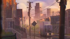 Dan Freitas Digital Art Cityscape Power Lines Car Skyscraper Street Light Stairs Road 1920x1080 Wallpaper