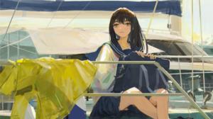Anime Anime Girls XilmO Artwork Brunette Brown Eyes School Uniform 2122x1267 wallpaper
