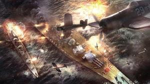 Aircraft Ship Battle Of Okinawa Artistic Warplane Warship 1920x1080 Wallpaper