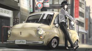 Chainsaw Man Kobeni Chainsaw Man Car Vehicle City Sign Numbers Anime Anime Girls Black Hair Tie Wome 3423x2176 Wallpaper
