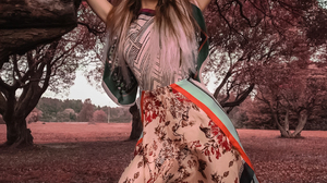 Yuriy Lyamin Women Ksenia Kokoreva Brunette Arms Up Long Hair Dress Nature Trees Low Angle Looking A 1080x1350 Wallpaper