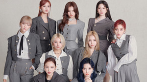 Women Asian Long Hair Dyed Hair Twice Model Singer K Pop Grey Clothing Simple Background 3840x2160 Wallpaper
