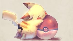Pikachu Pokemon Pokeballs Sleeping 1920x1203 Wallpaper